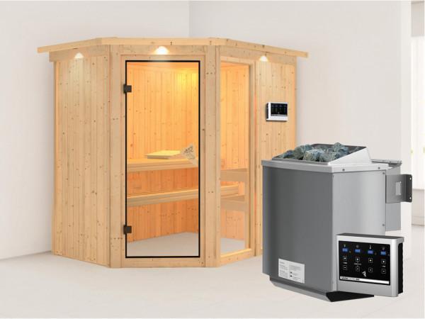 Sauna Systemsauna Fiona 1 mit Dachkranz, inkl. 9 kW Bio-Kombiofen ext. Steuerung