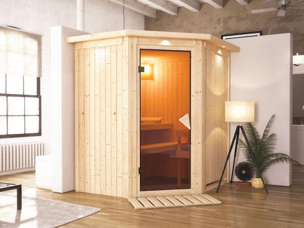 Sauna Systemsauna Tonja mit Dachkranz