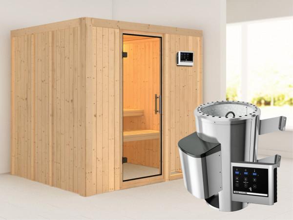 Sauna Systemsauna Daria Klarglas Ganzglastür + Plug & Play Saunaofen mit externer Steuerung