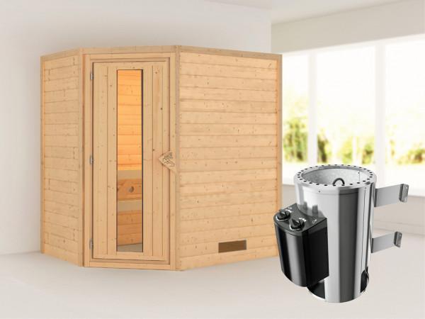 Sauna Massivholzsauna Cilja Energiespartür + Plug & Play Saunaofen mit Steuerung