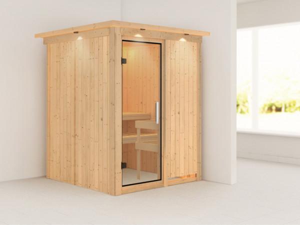 Sauna Systemsauna Minja mit Dachkranz, Klarglas Ganzglastür