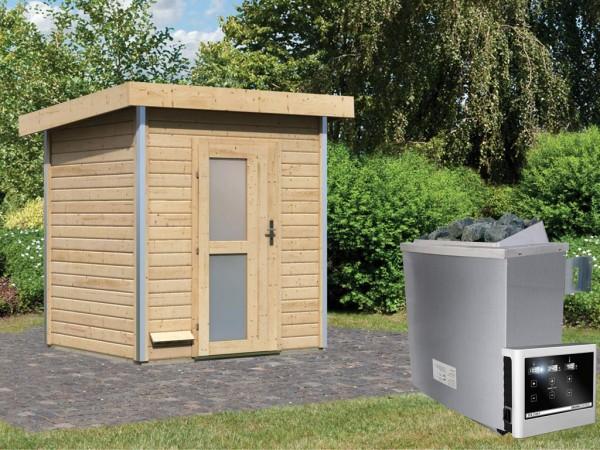 Saunahaus Jorgen mit Milchglastür, inkl. 9 kW Saunaofen mit externer Steuerung