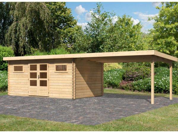 Gartenhaus Blockbohlenhaus SET Bastrup 10 28 mm naturbelassen, inkl. 4 m Anbaudach