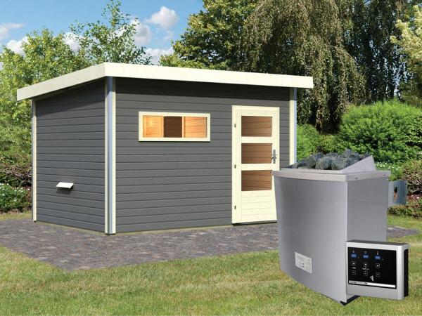 Saunahaus Skrollan 3 mit moderner Tür terragrau + 9 kW Saunaofen ext. Strg.